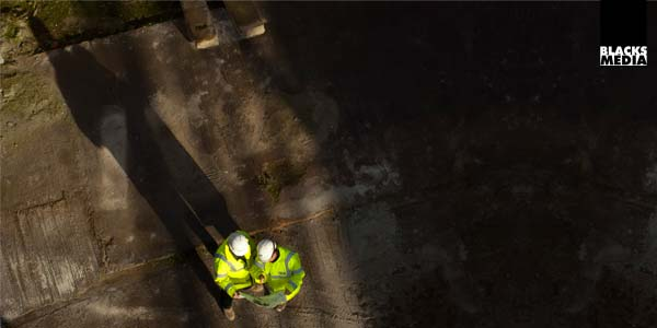 aerial photography of employees