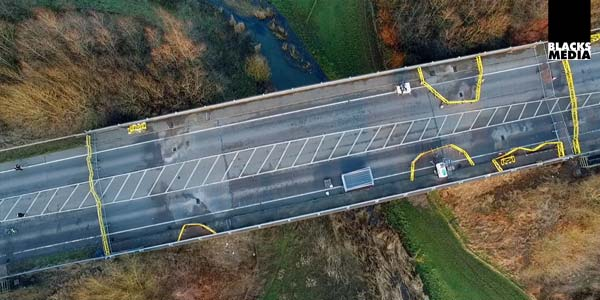 aerial drone photography of A6 bridge