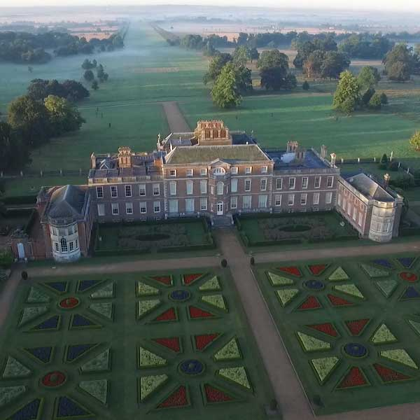 corporate aerial photography of wimpole hall